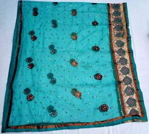 Indian blue bridal Dupatta sequence hand embroidery bead stole scarf hijab