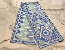 EMILIO PUCCI BLUE AND WHITE SILK OBLONG SCARF NWOTS!