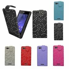 CASE FOR SONY XPERIA E3 GLITTER FLIP PU LEATHER VARIOUS COLOUR POUCH PHONE COVER