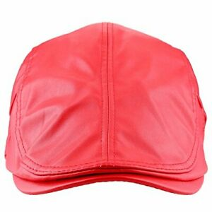 Flat Caps for Men, Beret Leather Hat Cabbie Gatsby Newsboy Cap Ivy #2-red