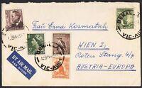 1941-42 6d kooka + 1/- lyrebird & KGVI 2½d brown etc on cover to Austria TS958