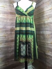 Women's AGB Pretty Green & Brown Print Dress Lined Mint Condition Size 10
