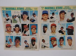 1969 MLB Baseball Stars Official PhotoStamps National & American League 9 sheets
