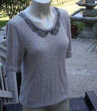 Free People Sweater Short Sleeve Beige with Gray Beaded Embellished Retro Pan