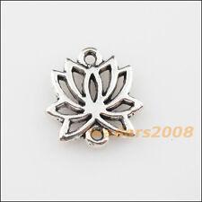 10 New Charms Tibetan Silver Lotus Flower Pendants DIY Connectors 14.5x16mm