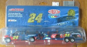 2004 Jeff Gordon #24 Dupont Action 1:64 Crew Cab & Open Trailer HTF