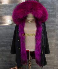 Women Colorful Fox Fur Collar Fur Lining Long Coat Winter Jacket Parka 14 Colors