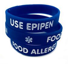 Kids/Youth Food Allergy Use Epipen Royal Silicone Bracelet (Lot of 2)