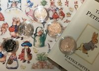 UNCIRCULATED BIG FIVE Beatrix Potter Peter Rabbit coins set + Collector capsules