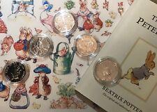 Cerchiato Big Five Beatrix Potter Peter Rabbit monete Set + CAPSULE DA COLLEZIONE