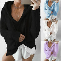 Womens Warm Fluffy Coat Hooded Knit Top Sweater Jacket Outerwear Knitted Jumper