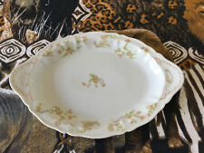 "EARLY FRAUREUTH AG SAXONY PORCELAIN OBLONG SERVING PLATTER WHITE/FLORAL ""MED/SIZ"