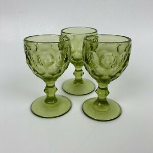 Vintage Green Thumbprint Provincial Imperial Cordial Glass Pressed Glass 3 OZ