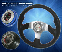 1988-1991 Civic 320mm Black Steering Wheel + Adapter Hub + Quick Release Blue