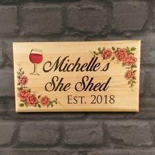 Large Personalised She Shed Plaque / Sign - Established Wine Ladys Mum Room Door