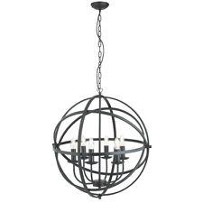 Searchlight 2476-6BK Orbit Matt Black 6 Light Spherical Pendant Light