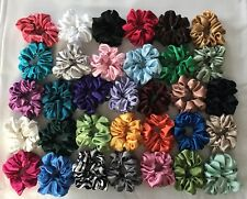 5 SATIN HAIR SCRUNCHIES -  Handmade -  33 Colors To Choose From 5 NEW COLORS