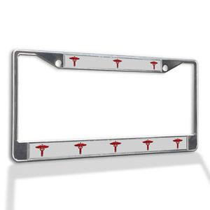 Metal License Plate Frame Vinyl Insert Red Medical Caduceus Symbol