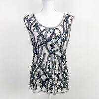 ZARA Tulle Sheer Mesh Beaded Embroidered Floral Tank Top Light Purple Gray M