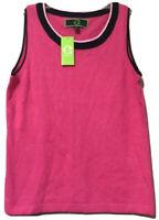 C Wonder Pink Womens Lambs Wool Angora Cashmere Sweater Vest Size Large New
