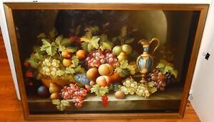 A.GOODMIN LARGE OIL CANVAS STILL LIFE FRUIT PAINTING