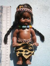 VINTAGE RUBBER PLASTIC TOY DOLL AFRICA TRIBE COSTUME DRESS BLACK FACE GIRL