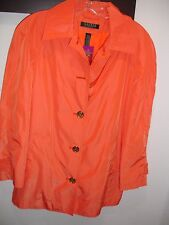 Ralph Lauren Travel Women's, Orange Light Button Rain Coat Jacket New SIZE S/P.