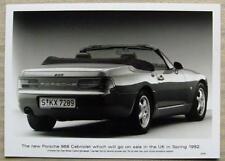 PORSCHE 968 CABRIOLET Black & White Press Photograph 1992 #07/91  SIDE/REAR VIEW