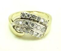 14k White Gold 0.33ct Round Diamond Cluster Cocktail Waterfall Fan Ring Size 5