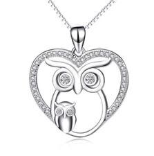 Anhänger Eule mit Kind 2 Eulen im Herz mit Kristallen Kette Sterling Silber 925