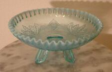Dugan Blue Opalescent Leaf & Diamond Novelty Spatula Footed Bowl