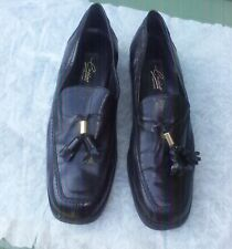 VINTAGE 1980s BLACK faux leather LOAFERS  LADIES SHOES