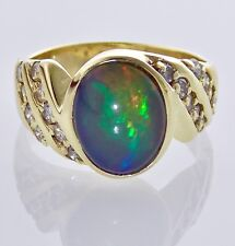 14KT YELLOW GOLD OVAL CABOCHON BLACK FIRE OPAL & DIAMOND RING SIZE 7 12.5mm