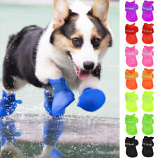 4pcs Dog Puppy Pet Rubber Rain Boots Anti-slip Waterproof Shoes Paw Protector