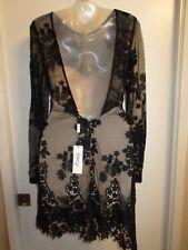 Sky Clothing Brand S $251 Dress Mini Bodycon Black Lace Floral Crochet Nude Club