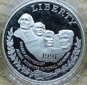 1991 United States Mint Mount Rushmore Silver Dollar Proof Coin