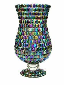 Fabulous XL Stunning Art Glass Iridescent Amphora Footed Vase Rainbow Sheen