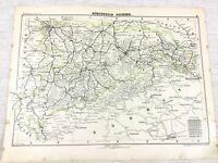 1898 Ancien Chemin de Fer Carte Dresden Allemagne Leipzig Chemnitz Saxe Allemand