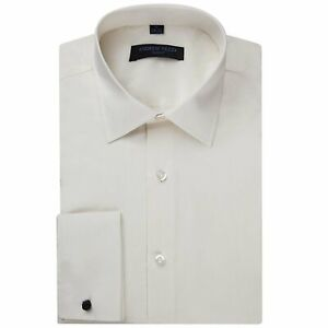 Andrew Fezza Men's Flex Collar Slim Fit French Cuff Solid Dress Shirt - Closeout