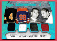 2015-16 Bobby Orr - Gretzky - Maurice Richard - Hull Leaf Ultimate 4 Relic 1/4