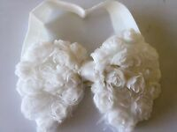 Baby Shower kids Girls christening Rose white bow Party hair band Headband PROP