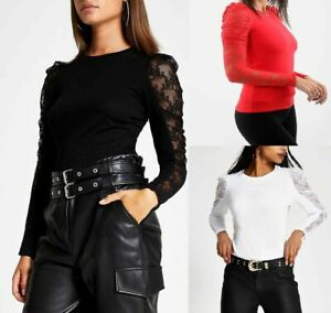 Womens Lace Sleeve Puff Sleeve Plain Casual T-Shirt Ladies Round Neck Top