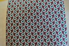 Brooks Brothers Geometric Pattern Maroon w/ Green White Necktie Tie Silk Short