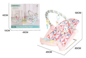 3 in 1 Baby Toddler Rocker Bouncer Chair Soothing Music Pink Playmat for Babies