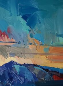 JOSE TRUJILLO Oil Painting IMPRESSIONISM Contemporary COLLECTIBLE Mountain SKY