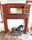 Victorian Cherry Wood Fireplace Mantle w Mirror & Storage - Turned Spindles!