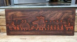 18 C Ancient Wood Fine Hand Carving King Camel Elephant Figure Rare Panel