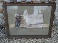 Antiguo cuadro acuarela marco madera y yeso french antigua painting frame