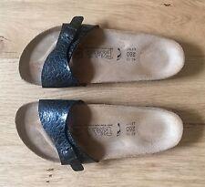 Brand New Birkenstock Size 7 Birki's Sandal Leather Bed Adjustable Black Strap