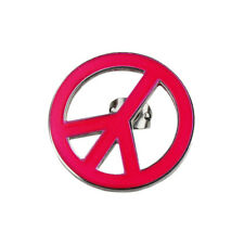 Lucien Pellat-Finet Silver Neon Pink Peace Ban the Bomb Singular Earring Stud